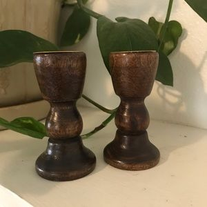 "Wooden candlesticks 3"" tall"